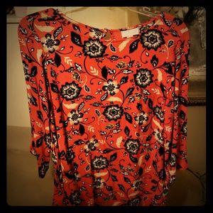 NWOT J.Jill Red 3/4 Sleeve Flowy Floral Tunic